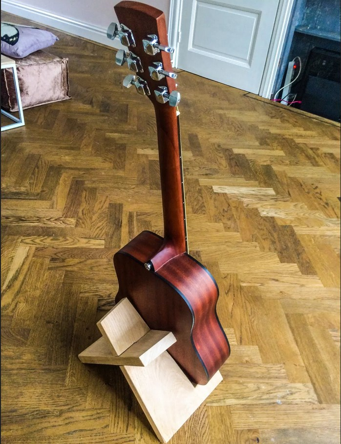 DIY guitar stand from behind